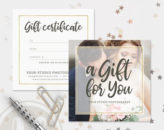 Photography Gift Certificate Template - Gift Certificate Template, Instant Download, Printable Gift Certificate, Photoshop Template