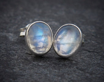 Rainbow Moonstone Earrings, Moonstone Studs, Silver Stud Earrings, Gemstone Earrings, Birthstone Jewellery, Sterling Silver, 925