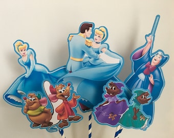 CINDERELLA Centerpiece Picks Set of 5 (DOUBLE-sided)/Cake Toppers / Birthday Party / Decorations / Supplies / Decor