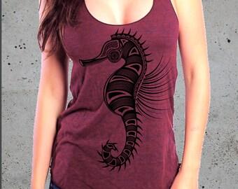Sale! Womens TRIBAL SEAHORSE Tank Top)Ocean Shirt,Girlfriend Gift-Nautical Gifts shirt-Beach Shirt-American Apparel--Birthday Gift Gifts