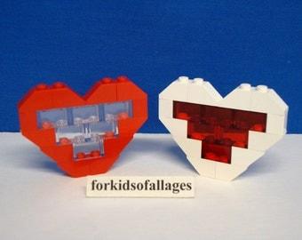 Custom Built Lego Hearts (Red & White) Valentine's Day Gift / Wedding / Anniversary / Christmas