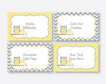 Instant Download, Editable Owl Food Labels, Yellow Owl Baby Shower Food Labels, Owl Food Tags, Buffet Card, Owl Printable, Boy, Girl(SBS.45)