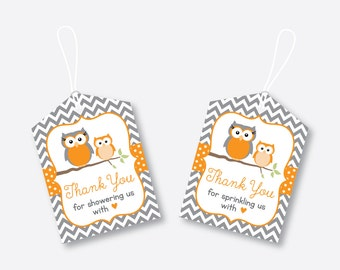 Instant Download, Owl Favor Tags, Orange Owl Baby Shower Favor Tags, Owl Thank You Tags, Owl Gift Tags, Owl Printable, Boy, Girl (SBS.47)