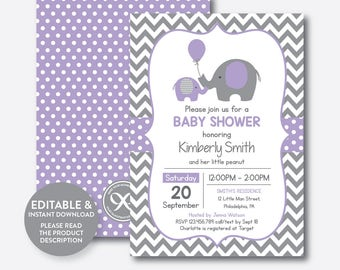 Instant Download, Editable Elephant Baby Shower Invitation, Purple Elephant Invitation, Little Peanut, Baby Sprinkle, Purple Chevron(SBS.38)