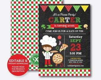 Instant Download, Editable Pizza Birthday Invitation, Pizza Invitation, Pizza Party Invitation, Chef Invitation, Boy, Chalkboard (CKB.477)