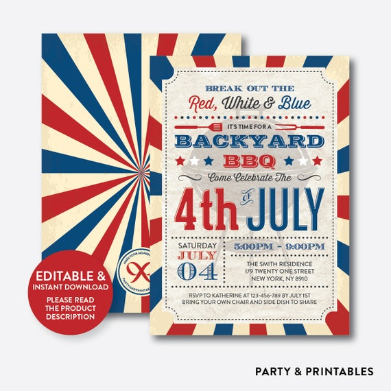 instant download 4th of july invitation 4th july invitation 4th