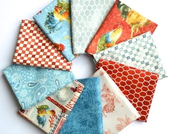 Early To Rise Fat Quarter Bundle - Danhui Nai - Wilmington Prints - 10 fat quarters - 100% Cotton - roosters, chicken wire, check, paisley