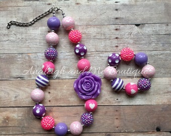 Toddler Pink and Purple Chunky Necklace, Toddler Necklace, Baby Chunky Necklace, Pink and Purple Baby Necklace