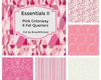 Pink Fat Quarter Bundle - Modern quilt fabric - Cotton fabric by the yard - Essentials II Blush Colorway - Art Gallery Fabric - Fat Quarter