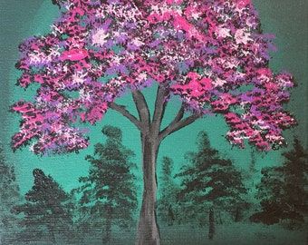 """Colorful original 8"""" x 10"""" acrylic tree painting on stretched canvas"""