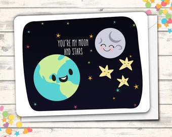 You're My Moon and Stars Love Card, Cute Anniversary Card, Card for Girlfriend or Boyfriend, Kawaii Card, Cards with Puns, Clever Cards