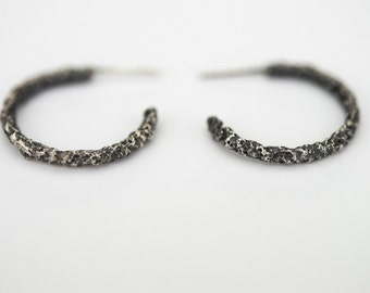 Sterling Silver Earrings, Textured, Organic Structure. Raw Collection.