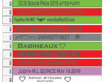 Custom 3/4 in Printed Tyvek Wristbands in a Variety of Colors, Event Club Party Wedding Birthday Bat/Bar Mitzvah 50 Bands