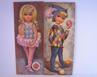 Vintage Litho Prints of 2 Harlequin Children By Goji (D.A.C. NY)