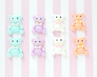 22mm Kawaii Pastel Teddy Bear Decoden Cabochons - 8 piece set
