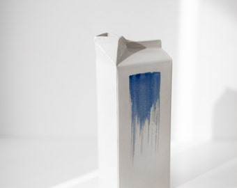 Ceramic milk carton, ceramic milk jug, vase, bottle