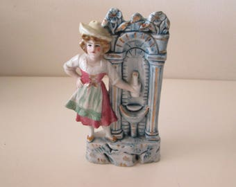 Lady by Water fountain figurine, made in Occupied Japan, Vintage porcelain