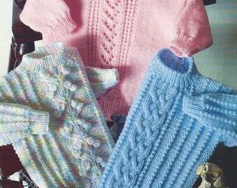 Baby Knitting Pattern Double Knit  Sweaters  pdf