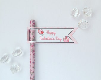 Valentine's Day pencil/straw flags