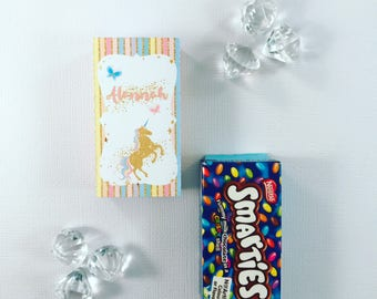 Pastel unicorn smarties box cover