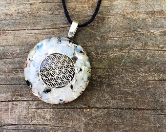 Etsy your place to buy and sell all things handmade orgonite pendant total solar eclipse rainbow moonstone pendant orgone pendant selenite mozeypictures Images