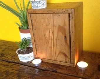 Charming little antique pine cupboard, storage box, little chest