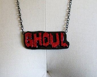 Red Glitter Ghoul Necklace