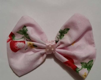 Pink strawberry hair bow