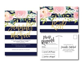 Floral Wedding Invitation Suite, RSVP Postcard, Wedding Invite Suite, RSVP Card, Watercolor Invitation Set, 2 Piece Wedding Suite #CL318