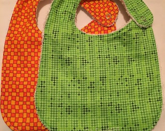 Terry Cloth Bib - set of 2 - orange and green