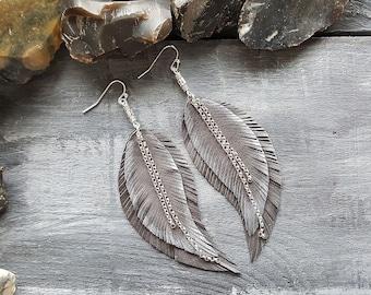 Grey Earrings. Leather Earrings. Feather Earrings. Leather Feather. Silver Earrings. Long Bohemian. Earrings Boho Jewelry. Boho Earrings.