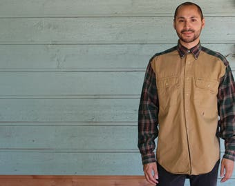 Tommy Hilfiger Tan and Plaid Long Sleeve Button Up Small, Vintage 90s Tommy Hilfiger Button Up Shirt, Tan Green Plaid Tommy Hilfiger Shirt