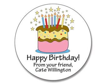 Personalized  Birthday Stickers, Birthday Cake Gift Sticker, Stickers for Birthday, Birthday Favor Sticker, Birthday Cake, Treat Bag Label