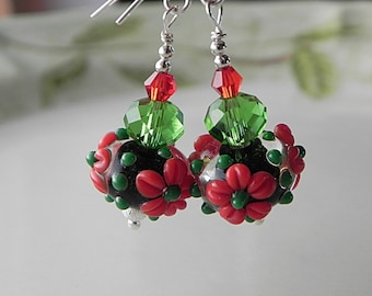 Red Green Earrings Floral Earrings Dangle Earrings Lampwork Earrings Beadwork Earrings Red Flower Earrings Red Glass Earrings Romantic