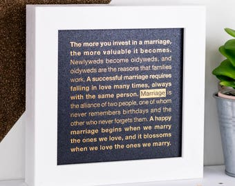 Framed Gold Foil Marriage Print; Wedding Gift; Anniversary Gift; Marriage Quotes; Gold; Blue; Metallic Foil Print; FMS018