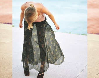 70s Vintage sheer maxi skirt - one of a kind