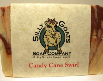 Candy Cane Swirl Soap, Peppermint Soap, Peppermint Goat Milk Soap, Christmas Soap