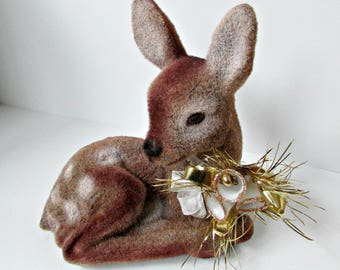 Vintage Flocked Deer Fawn Bank with Sugar Bells