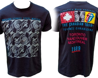 1980s The Rolling Stones Steel Wheels Canada Tour 89 Band Tee T Shirt Concert Mick Jagger Keith Richards British England Rock Classic Black