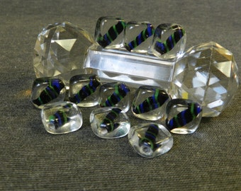 Set of 11 Clear Encasing Black w/ Blue & Green Accents Diamond Shaped Lampwork Glass Beads - 20mm