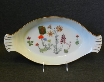"Vintage Lourioux ""Le Faune"" Wildflower 11"" Augratin Dish/ Oval Handled Baker w/ Original Tags! - Made in France Porcelain, Flowers, Floral"