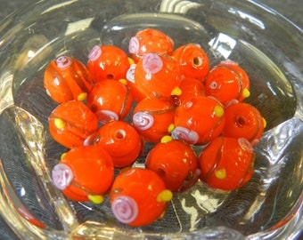 Set of 18 Round Orange Lampwork Glass Beads with Pink Roses and Yellow Dots - 10mm - Handmade - Floral, Rosette