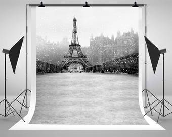 Eiffel Tower Paris Winter Snow Photography Backdrops No Wrinkles Photo Backgrounds for Romatic Wedding Studio Props LK-3100