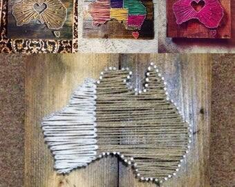 Australia Map String Art - multiple designs