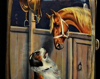 Antique original silver european enamel dog and horse decorated cigarette case