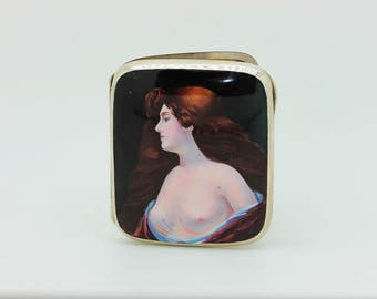 Antique original silver european enamel amazing  naked lady  cigarette case