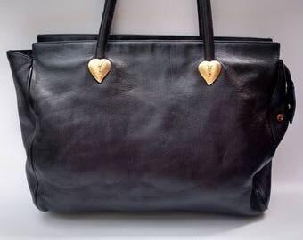 Sale! YSL Yves Saint Laurent Vintage Black Leather Shoulder Bag . French designer tote bag.