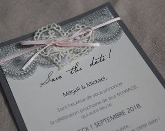 Save the date range lace | marriage gray/white / pale pink |