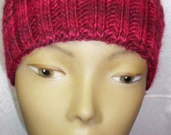 Simple Knit Hat - Wine Splash