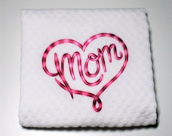 "Mom Gift, Mother Gift, Mom Birthday Gift, Gift For Mom, Mother Birthday Gift, Dish Towel, Kitchen Towel, CHOOSE YOUR COLOR  ""Mom"""